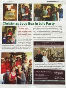 'Christmas Love Box in July Party' Article from 'Inside the Gates' Publication